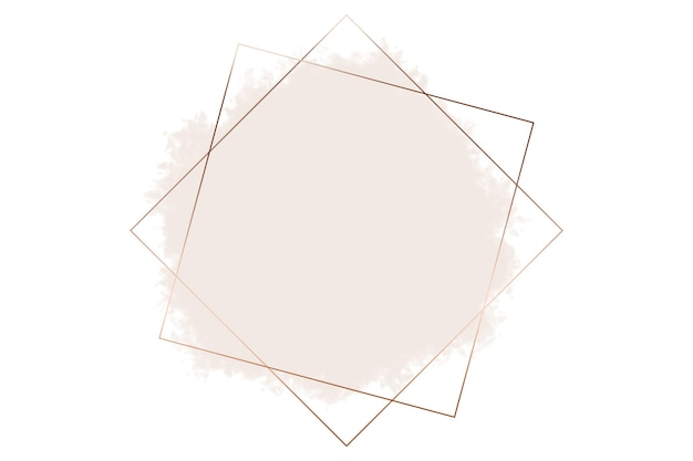 Square abstract logo background illustration in copper on pastel pink color background