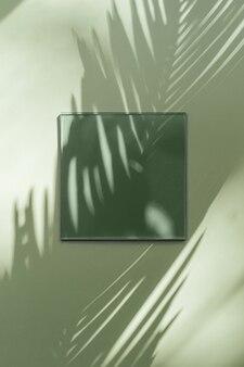Квадратная акриловая пластина на зеленом фоне с тенью тропических листьев. стильный фон для презентации.