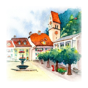 スイス、ウンターセンインターラーケン旧市街の広場と教会