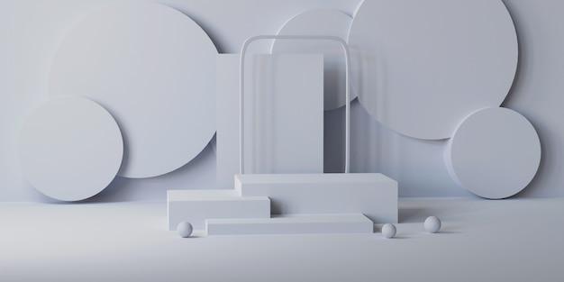 正方形と円柱の灰色の大理石の表彰台、3dレンダリング
