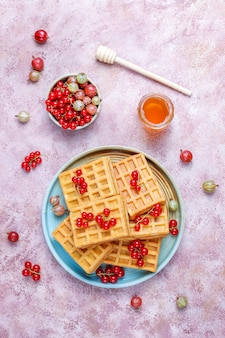 Square belgian waffles with loquat fruits and honey