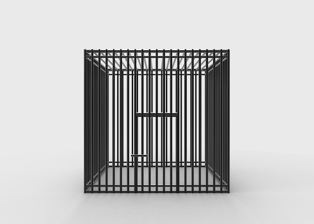 Square black steel wire cage on gray background.