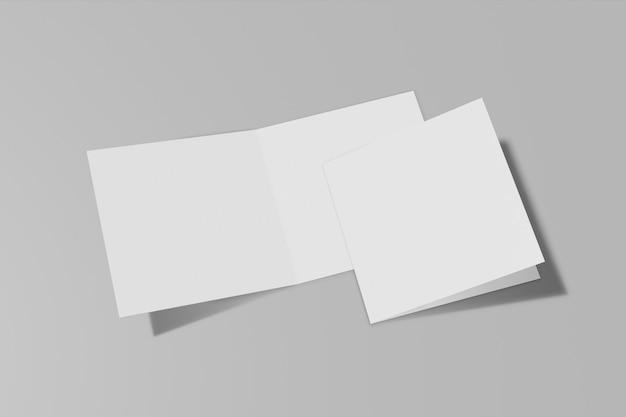 회색 배경에 고립 된 사각형 책자