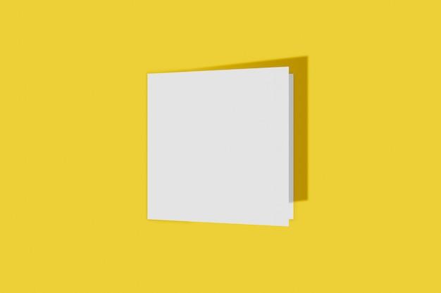 노란색 배경에 고립 된 사각형 책자