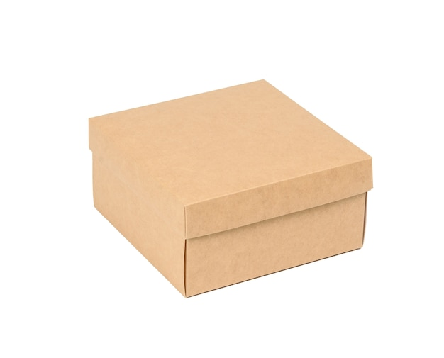 Square brown cardboard box isolated on white