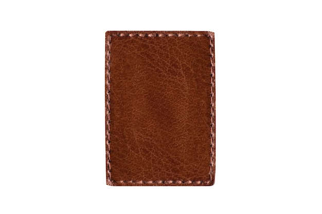 Square brown piece of leather with stitching isolated on white background. copy space.