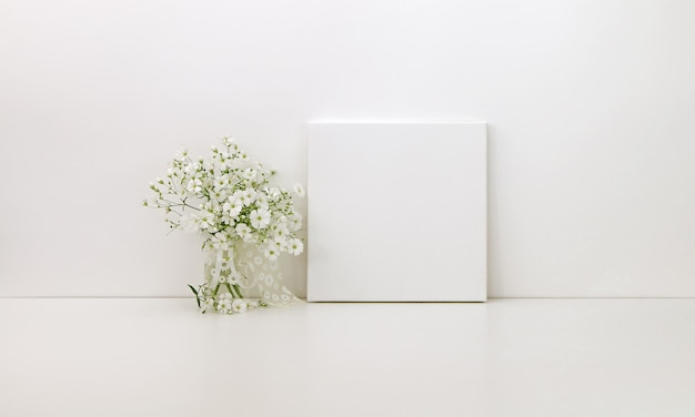 Square canvas with white flowers
