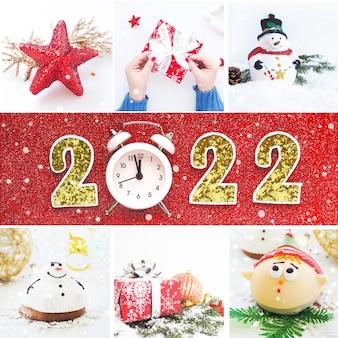 正方形のクリスマスカード、クリスマスの写真のコラージュ、2022年の碑文のある赤い背景。