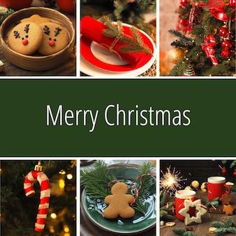正方形のクリスマスカード、クリスマスの写真のコラージュ、メリークリスマスの碑文と赤い背景