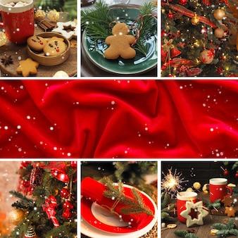 正方形のクリスマスカード、クリスマスの写真のコラージュ、テキストの赤い背景。