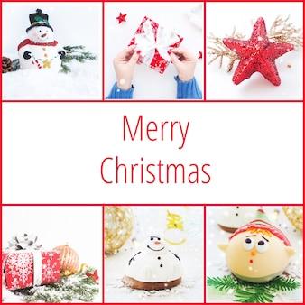 正方形のクリスマスカード、クリスマスの写真のコラージュ、クリスマスのレタリングと赤い背景。