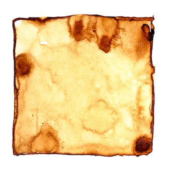 Square coffee stain isolated over the white background