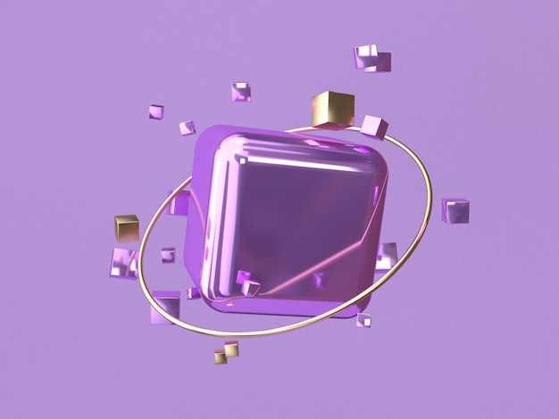 Square/cube purple metallic 3d rendering abstract background