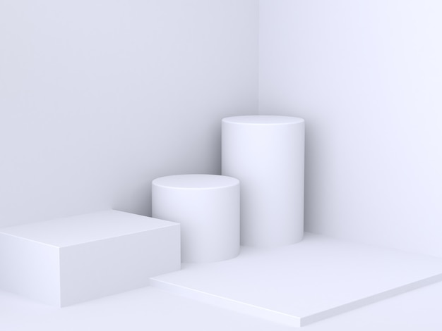 Square cylinder white wall corner minimal abstract background 3d rendering