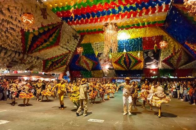 Square dance performing at the feast of saint john campina grande paraiba brazil