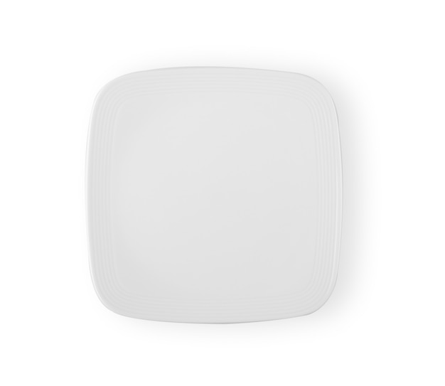 Square dish top view isolated on white background