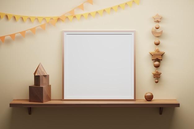나무 선반과 나무 큐브, 피라미드, 별, 분야 장식 요소에 사각 빈 프레임 서. 3d 그림.