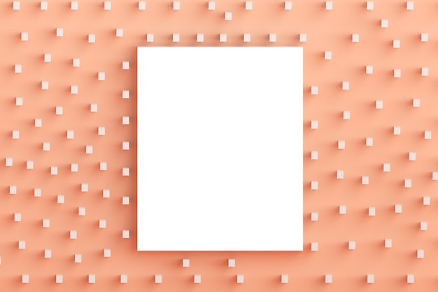 最小限のスタイル、レタリング、テキスト、またはデザインのテンプレートで、空白のフレームのモックアップとパステルミレニアルピンクの背景の正方形のフラットレイコンセプト上面図。