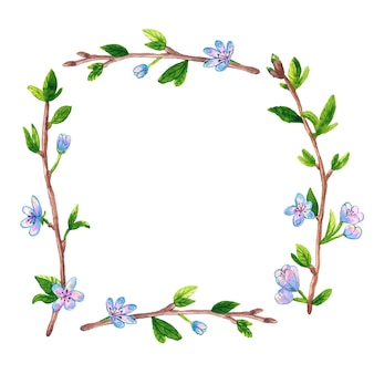 春の枝リンゴまたは桜の木と正方形の花フレームの背景。手描きの水彩イラスト。孤立。