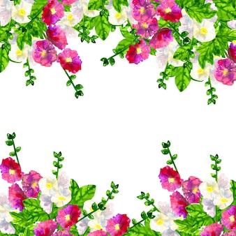 正方形のフレームの背景。葉とピンク紫ゼニアオイ。白アオイ科の植物。手描きの水彩イラスト。孤立。