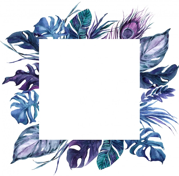 Square frame exotic bird feathers and tropical leaves wreath