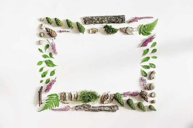 Square frame, natural layout of leaves