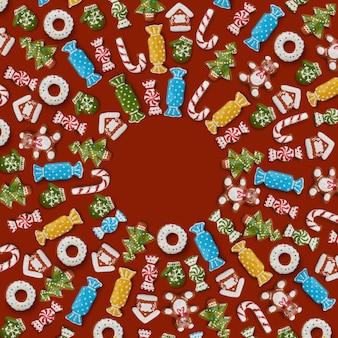 茶色の背景にジンジャーブレッドクッキーの正方形のフレーム