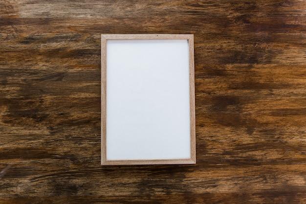 Square frame poster mock wooden background