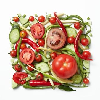 Square frame of raw vegetables