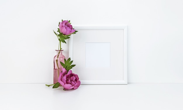 Square frame with peonies