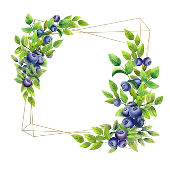 Square frame with watercolor flowers and blueberries