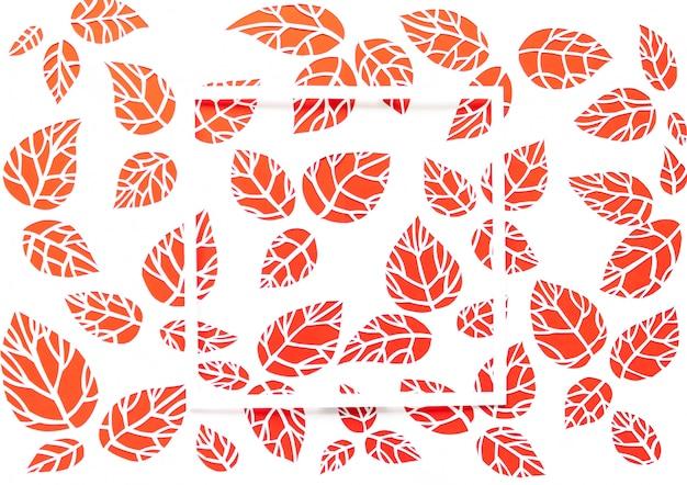 白、赤の背景を持つ正方形のフレームを残します。紙から切り取った葉