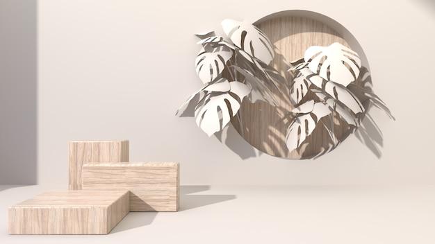 Квадратные геометрические деревянные кубики на кремовом абстрактном фоне просверливают отверстие, ставя круглые деревянные. украсить листьями монстеры. для презентации косметической продукции. 3d рендеринг