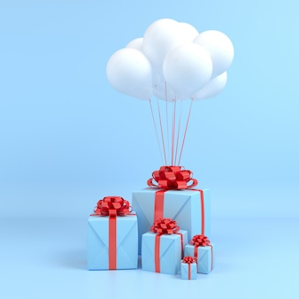 Square gift box fly in air white balloon  and red ribbon blue background. 3d pastel concept render