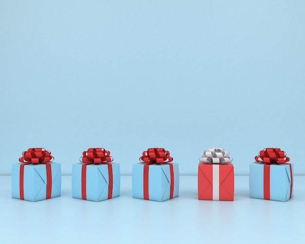 Square gift box and red ribbon blue  background 3d concept render pastel