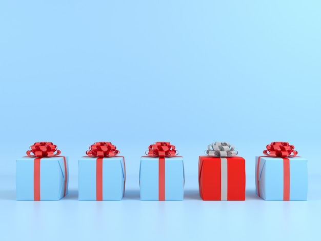 Square gift box and red ribbon blue background. 3d pastel concept render