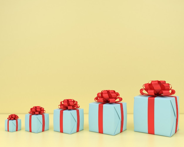Square gift box and red ribbon yellow background 3d  render pastel