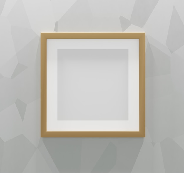 Square gold frame on an abstract gray background. 3d render