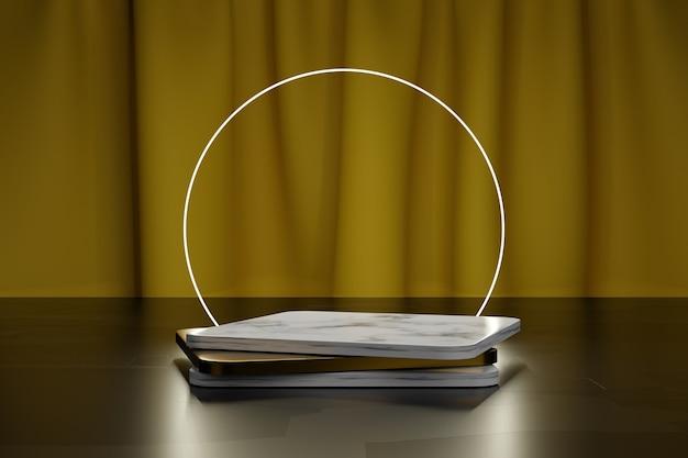 제품 프레젠테이션을 위한 정사각형 황금 및 대리석 연단 및 노란색 직물 커튼이 있는 네온 원