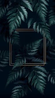 熱帯の背景に正方形の金色のフレーム