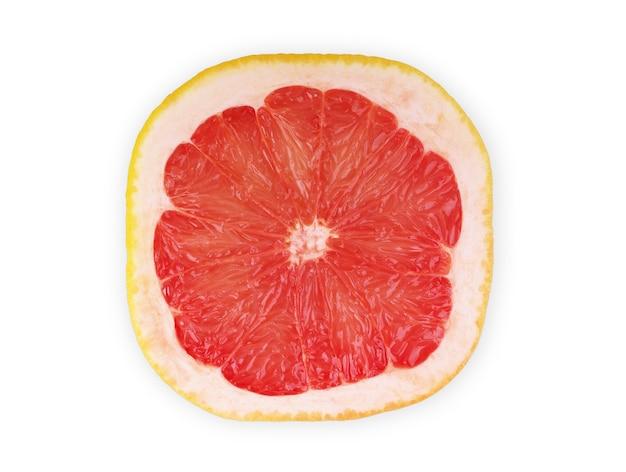 白い背景の上の正方形のグレープフルーツ