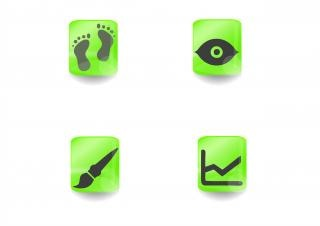 Square icons in green with black