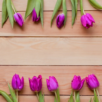 Square image of violet spring tulip flowers on wooden table blooming spring petals
