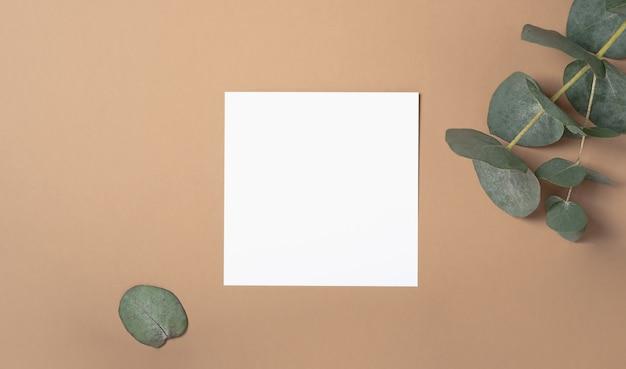 ユーカリの枝が付いている正方形の招待状のモックアップ。コピースペース、パステルベージュの背景を持つ上面図。ブランディングと広告のためのテンプレート。