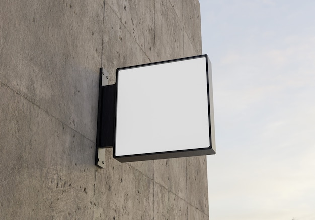 Square logo mock-up on concrete wall. 3d rendering