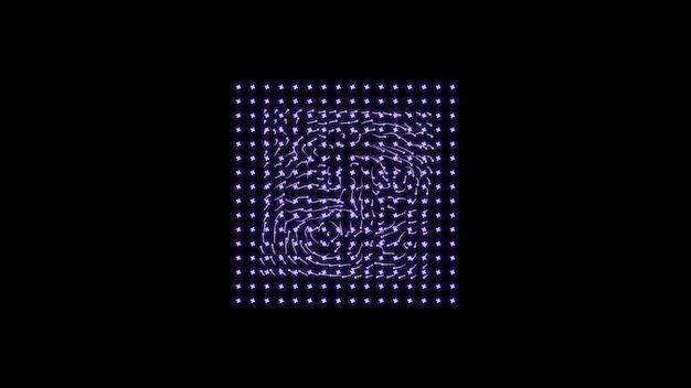 黒の背景に紫色の粒子の正方形幾何学的なモダンなデザイン
