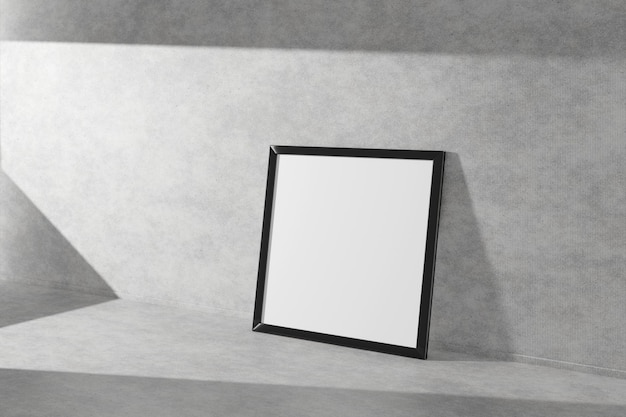 Square picture frame in black color on a concrete floor. 3d rendering