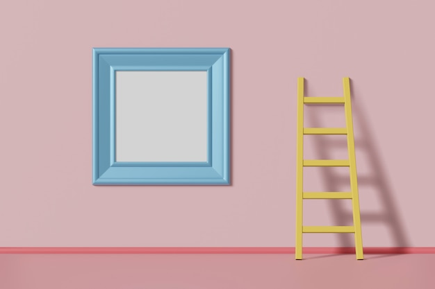 Square picture frame blue color hanging on pink wall near the staircase