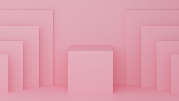 Square podium pink pastel color for product