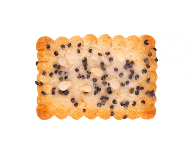 Square poppy seeds and sesame crackers isolated